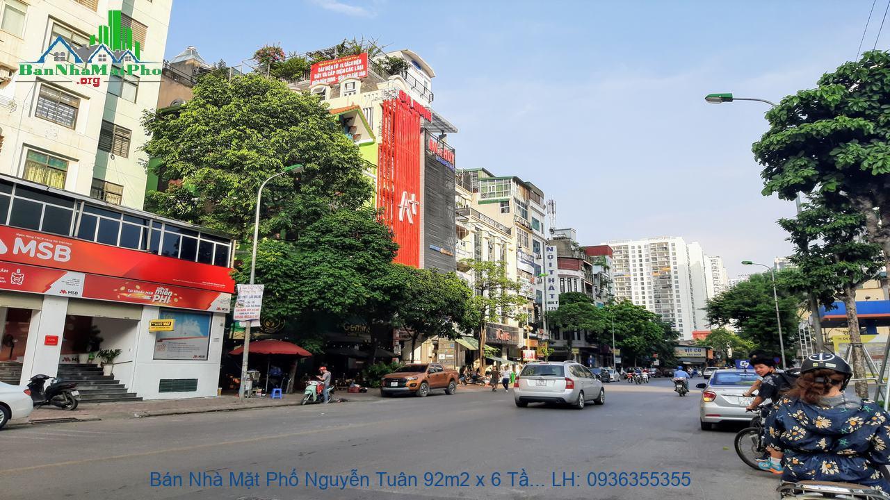 Bán Nhà Mặt Phố Nguyễn Tuân 92m2 x 6 Tầng, Mặt Tiền 6m, 2 Mặt Phố, Giá