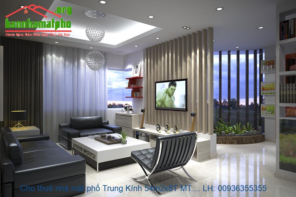 Cho thuê nhà mặt phố Trung Kính 54m2x8T MT:5m giá 65tr/thang